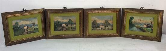 Group Lot 4 Framed Oil Paintings Countryside
