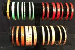 Group Lot 22 Enamel w Gold Tone Bangle Bracelets