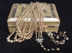 Lot 4 Vintage Jewelry Trinket Box w Inlay
