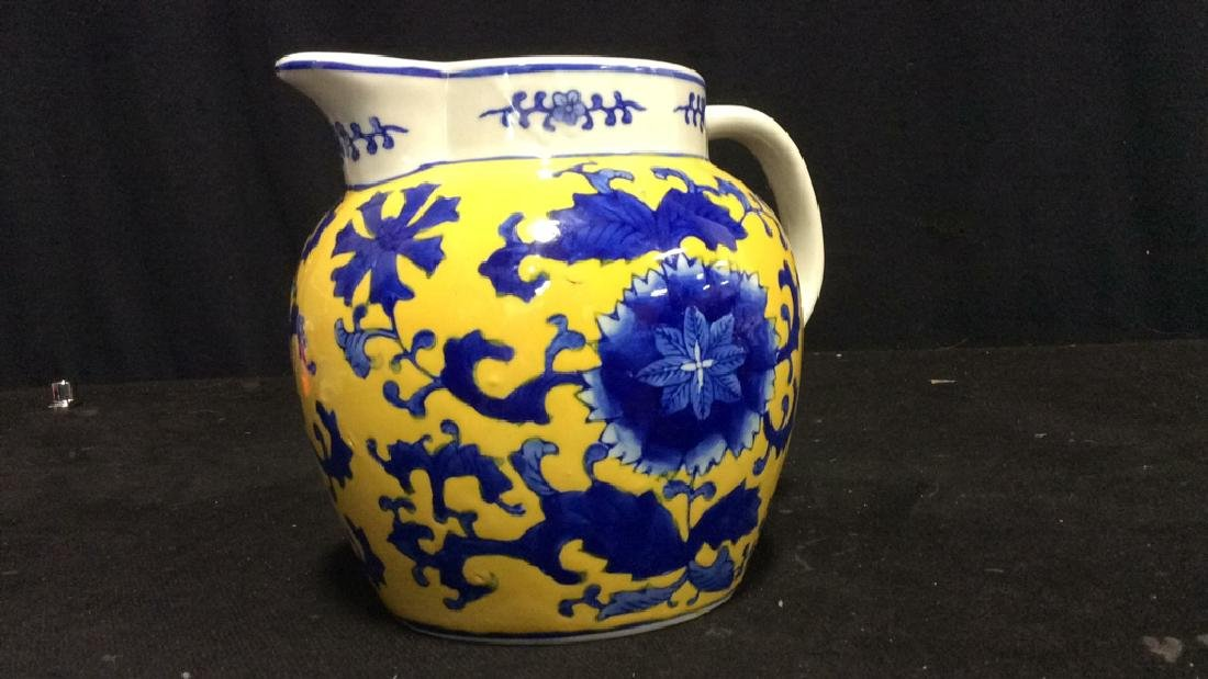 Asian Style Ceramic Blue on Yellow Pitcher