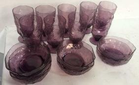 Group Lot Violet Glasses And Bowls