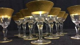 16 Ornate Embossed Gold Wide Trimmed Wine Glasses