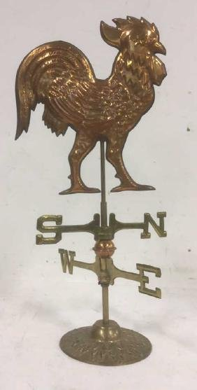 Copper Brass Rooster Weather Vane