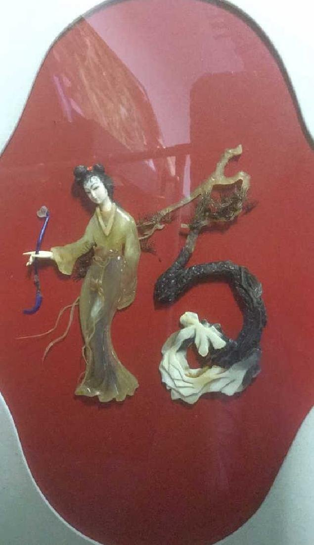 Asian Style Stone Sculpture Shadow Box