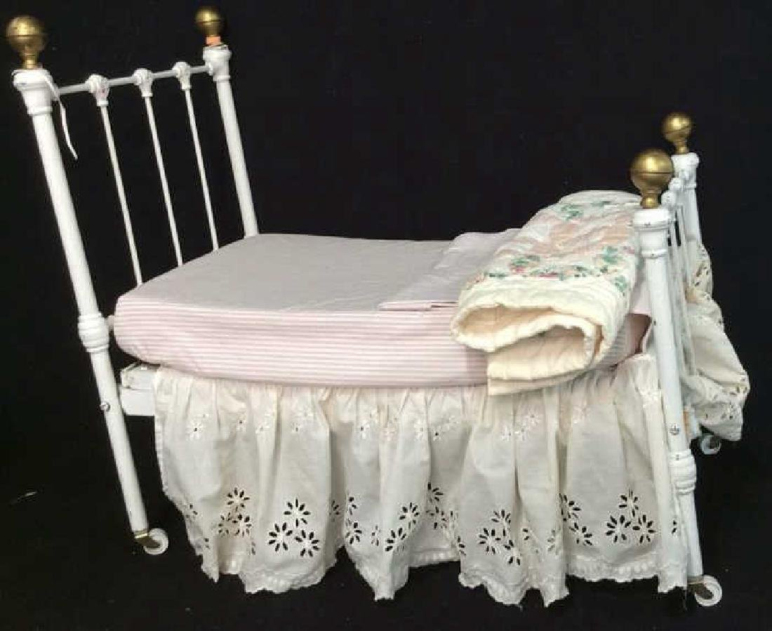 Antique Iron Doll Bed With Mattress & Bedding