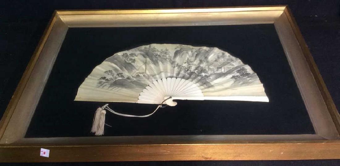 Framed Bone and Painted Silk Fan