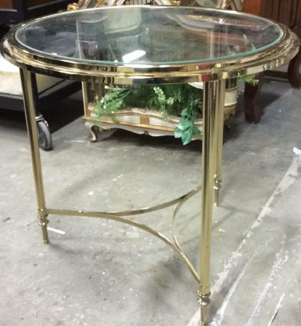 Circular Brass Glass End Table