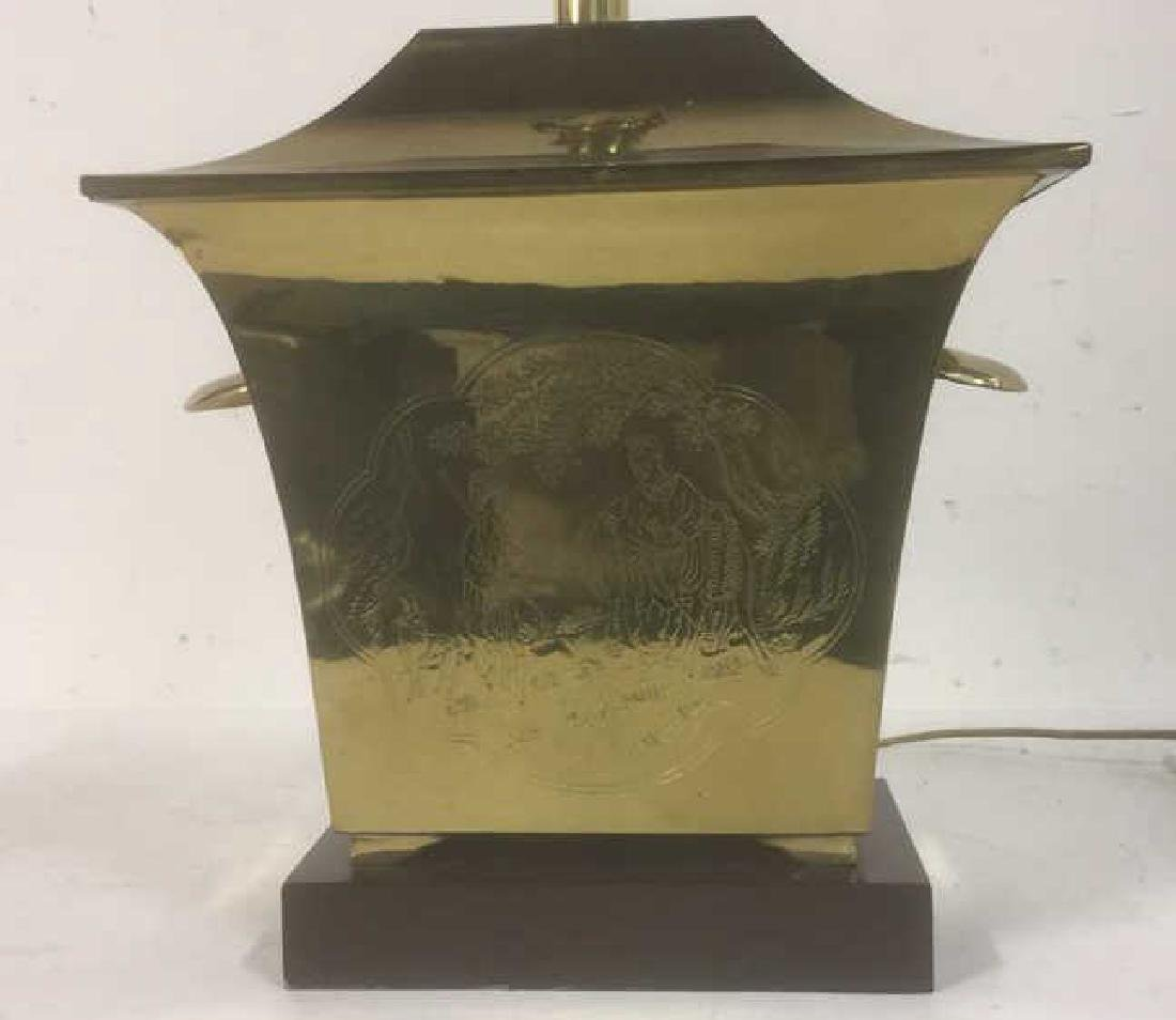 Etched Brass Asian Lamp w Stand