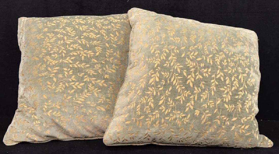 Pair Velour Down Filled Throw Pillows