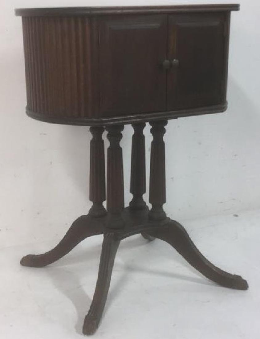 Antique Oval 2-Door Pedestal Table