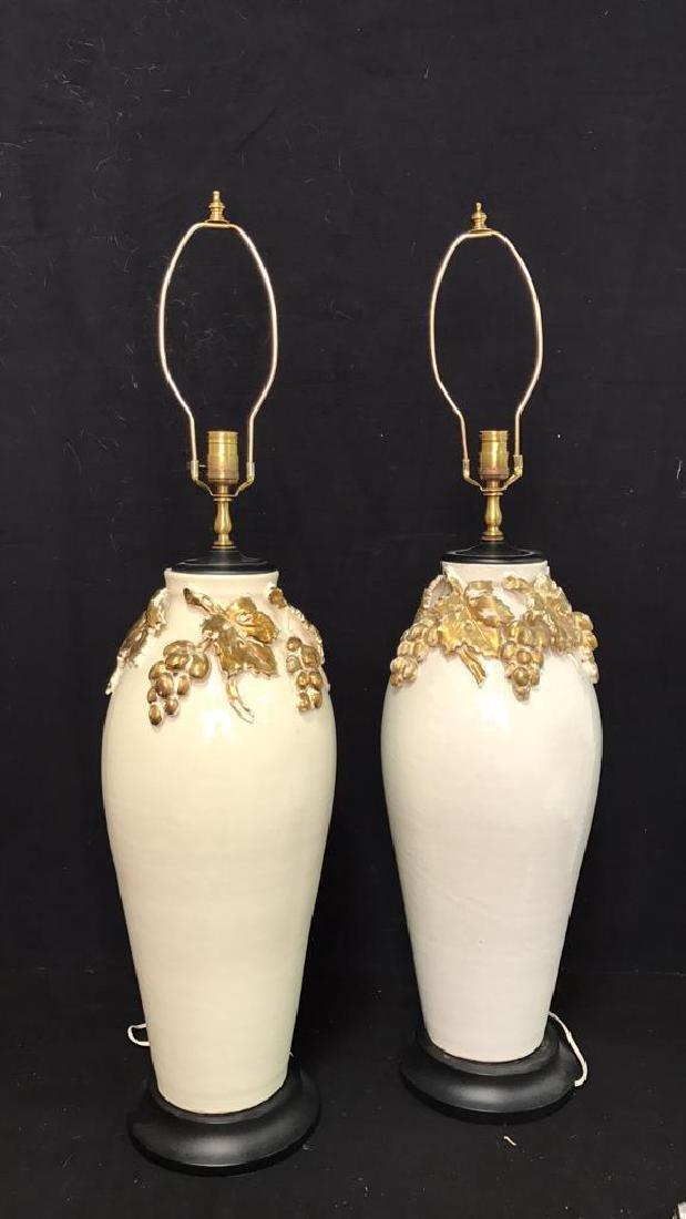 Pair Ceramic Hand Painted Lamps