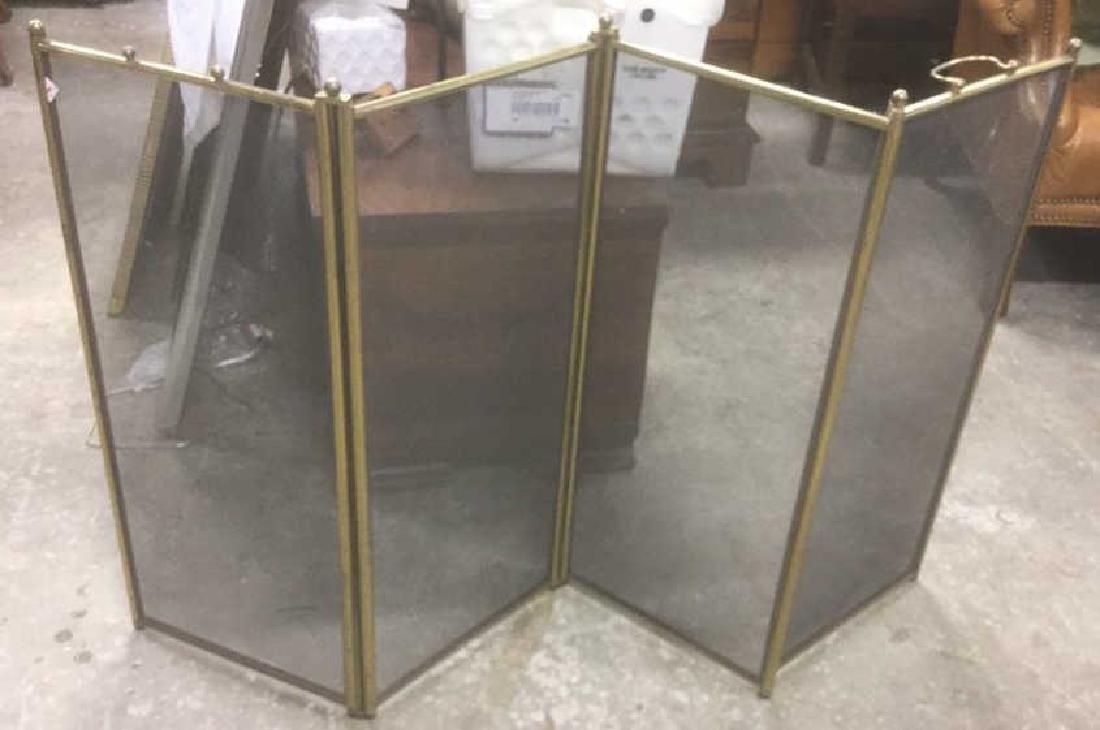 4 Panel Brass Mesh Fireplace Screen