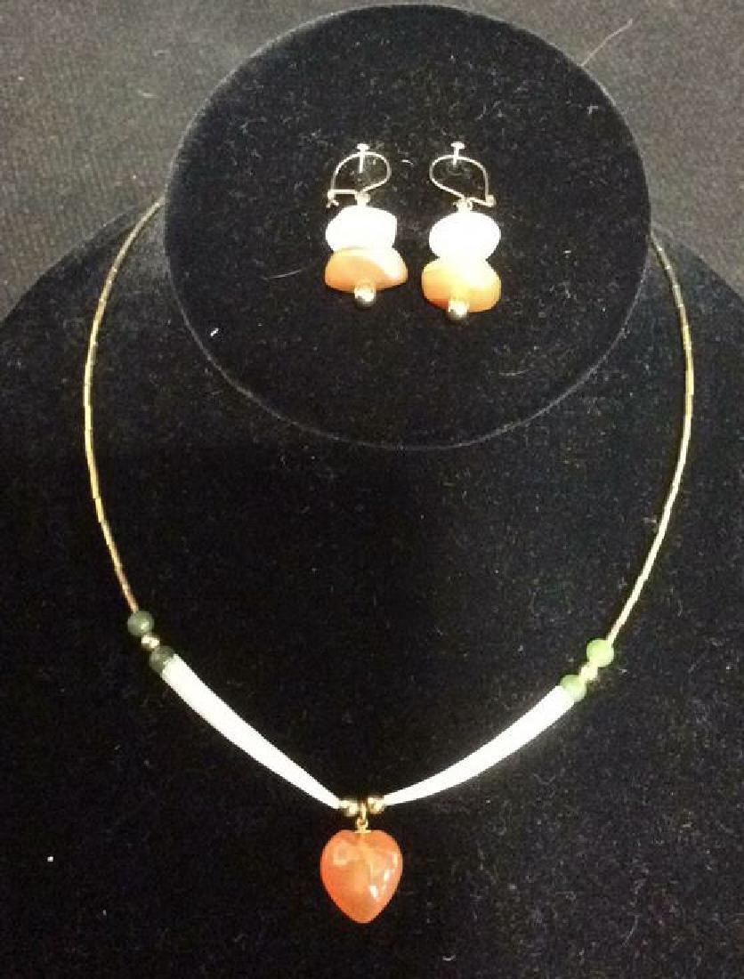 Vintage Carnelian Necklace Earrings w Jade Beads