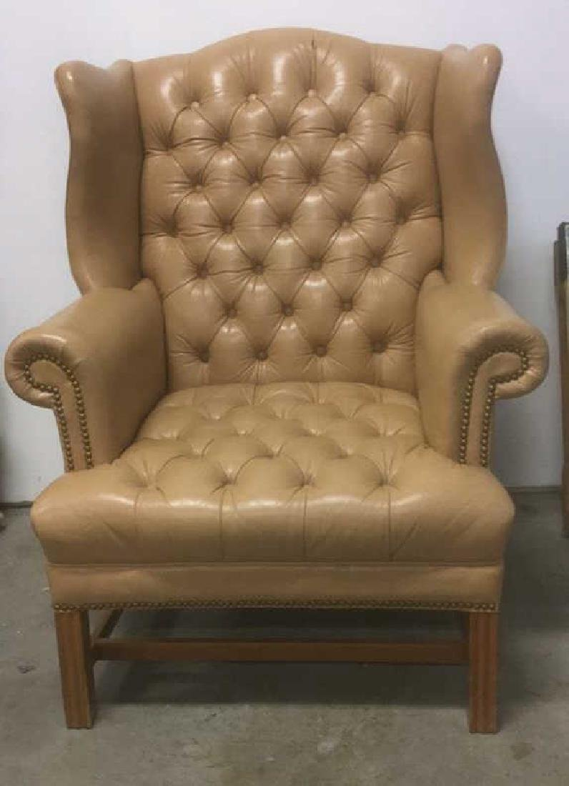Camel Tone Leather Tufted Wing Chair