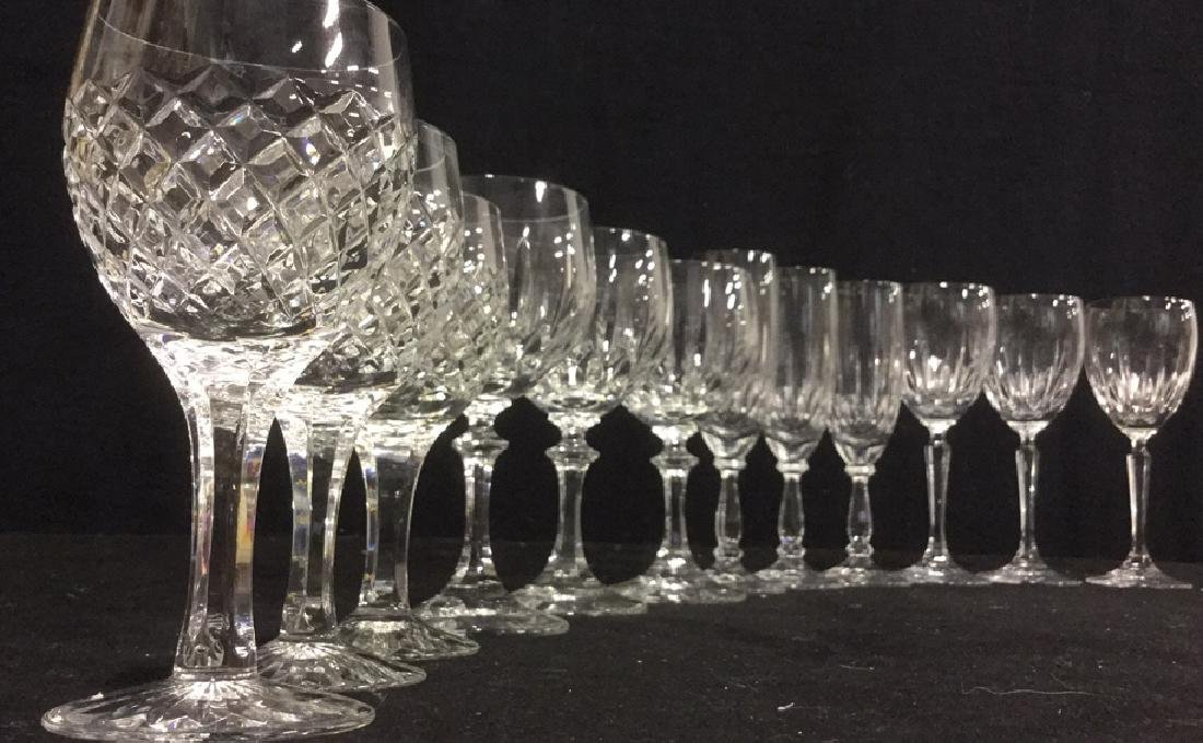 Group 19 Assorted Sized Crystal Wine Glasses