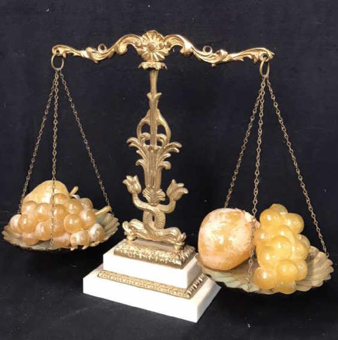 Vintage Marble Brass Decorative Balance Scale
