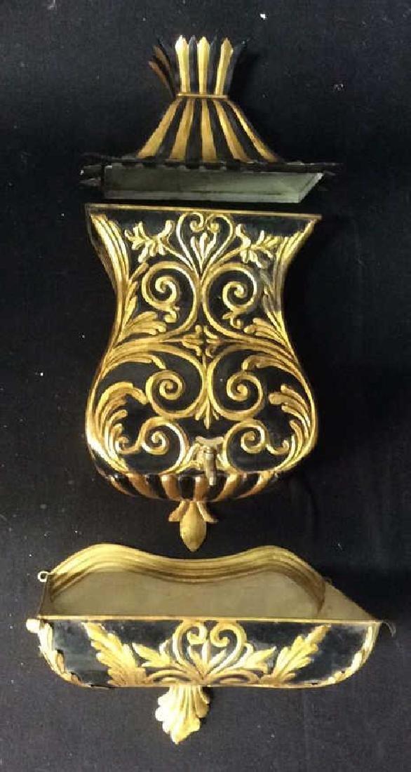 Ornate 3-Piece Black Gold Tone Wall Fountain Decor