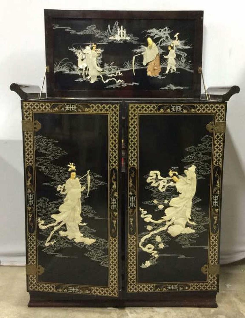 Vintage Asian Intricate Bar Cabinet