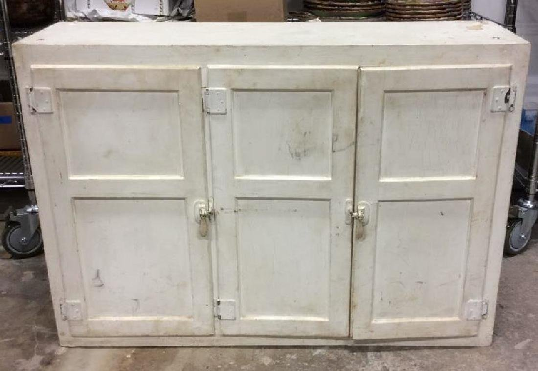 White Tri Door Cabinet Shelves
