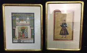 Two Indian Mughal Style Miniature Paintings