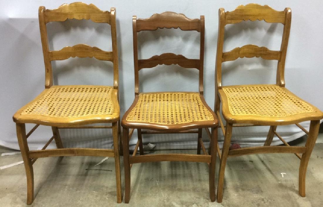 Lot of 3 Caned Wooden Chairs