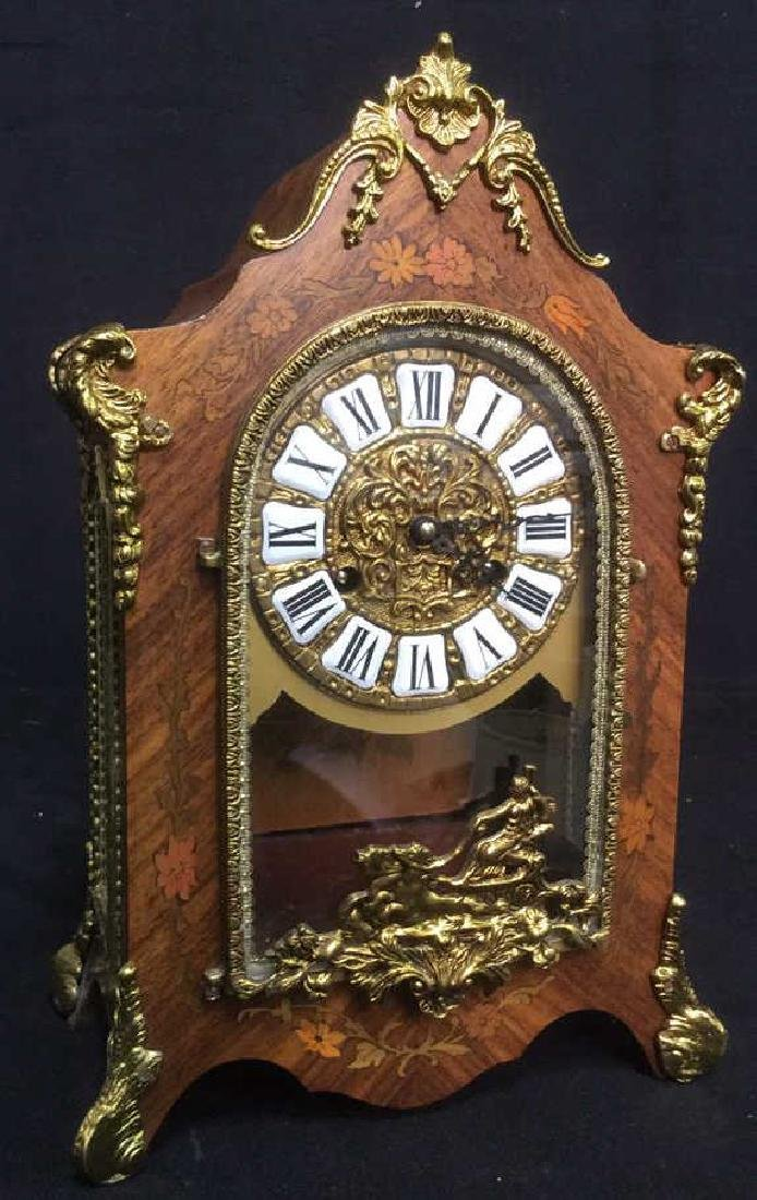Wood Inlay w Brass Mantle Clock Made in Italy