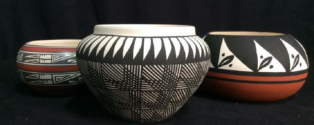 Group 3 Southwestern Design Ceramic Pottery Bowls