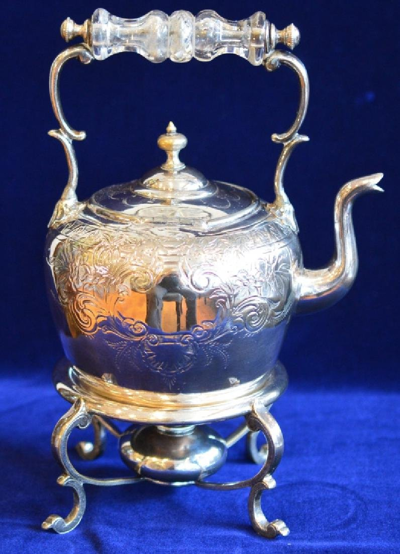 Vintage Electroplated Teapot with Burner & Stand