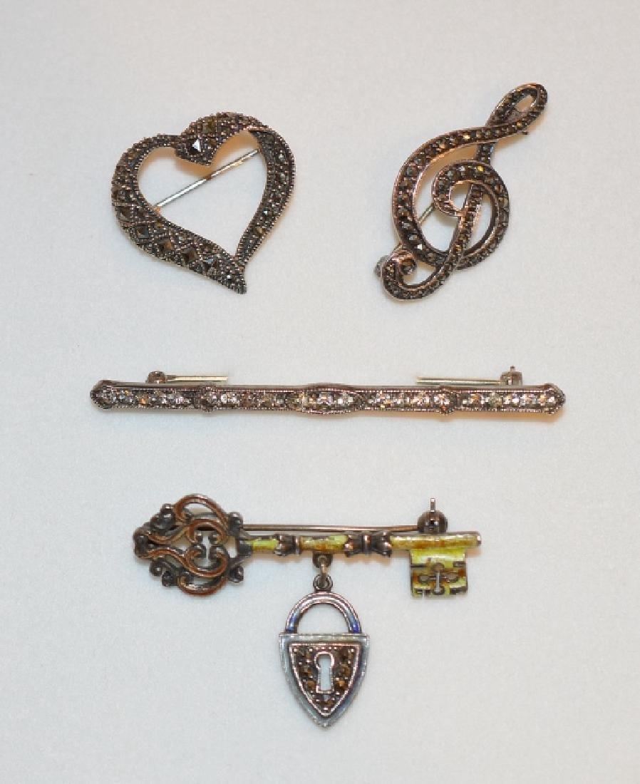 Lot of Vintage Sterling & Marcasite Pins