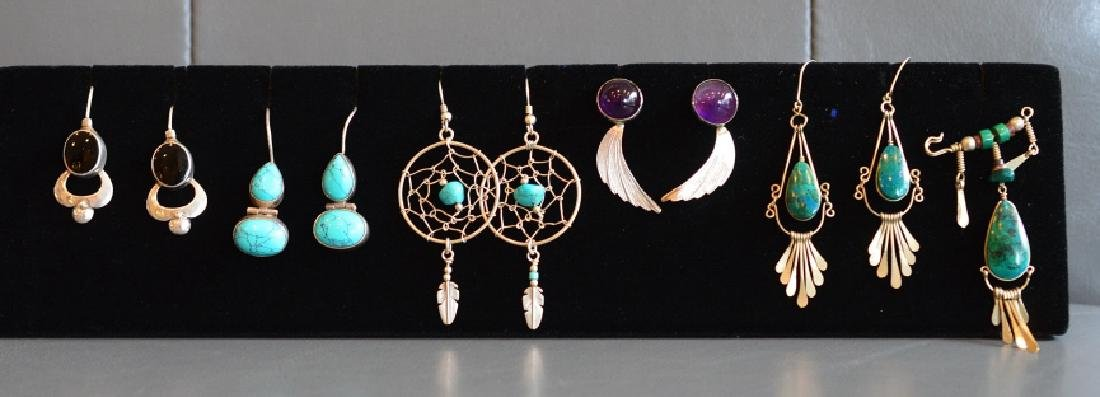 Lot of Sterling Silver & Gemstone Earrings