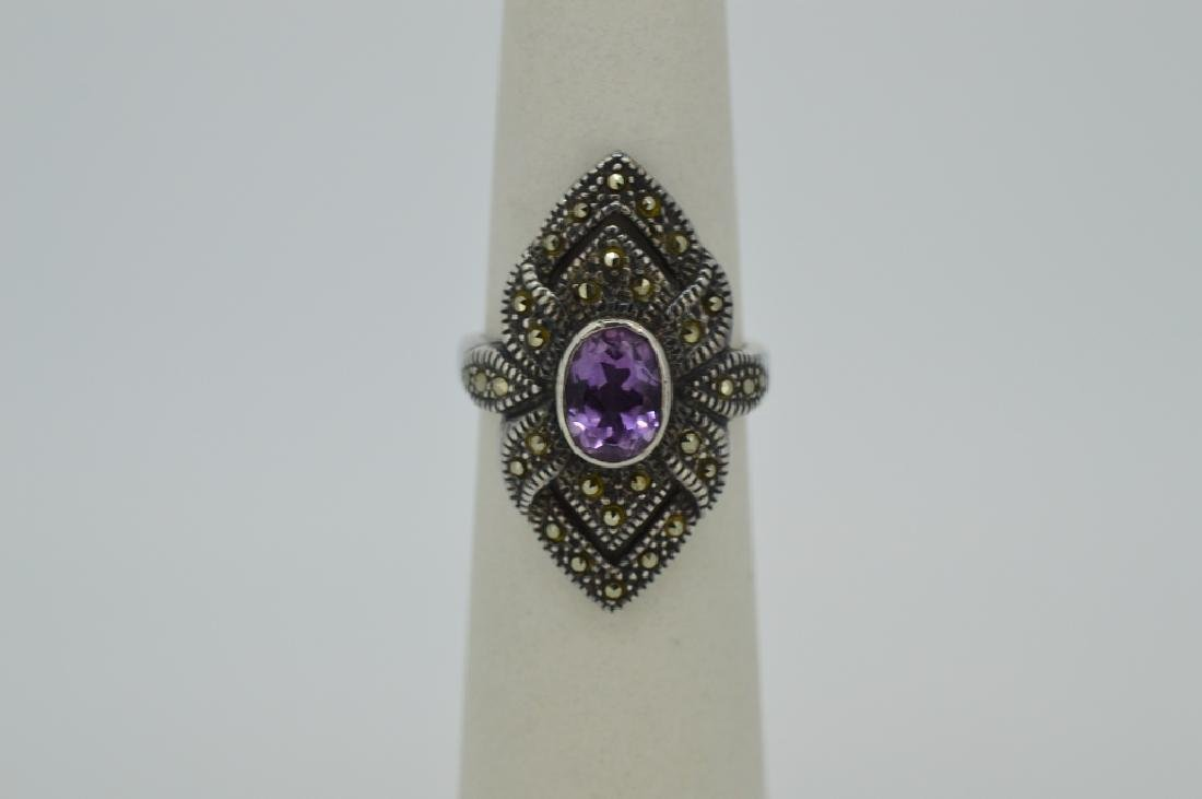 Ladies Amethyst & Sterling Ring - Size 8