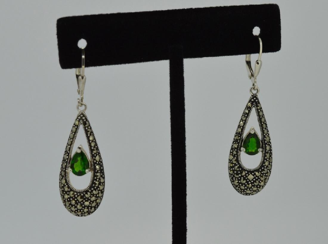 Natural Green Tourmaline & Sterling Earrings