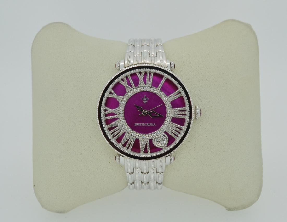 Judith Ripka Silvertone Watch with Pink Face