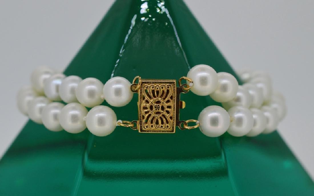 """6 3/4"""" Double Row Pearl Bracelet w 14k Clasp"""