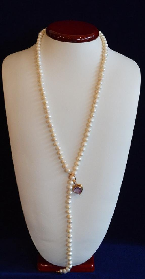 "Ladies 30"" Freshwater Pearl Lauriette with Diamond"