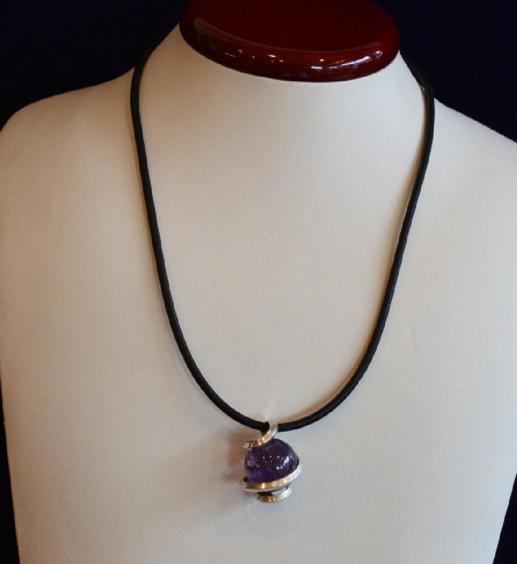 "Ladies 16"" Purple Amethyst Choker Style Necklace"