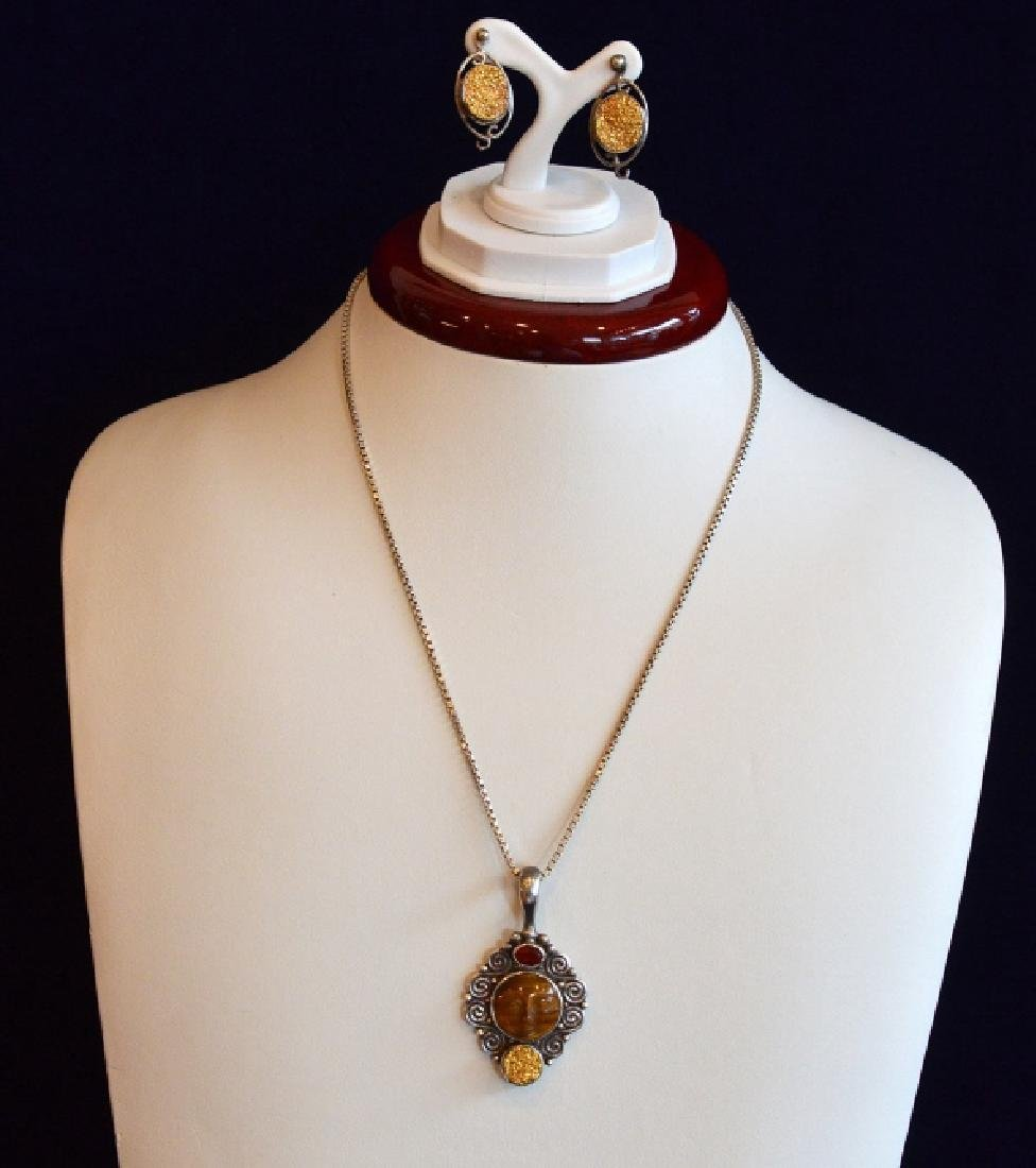 """16"""" Tigers Eye Face Necklace w Matching Earrings"""