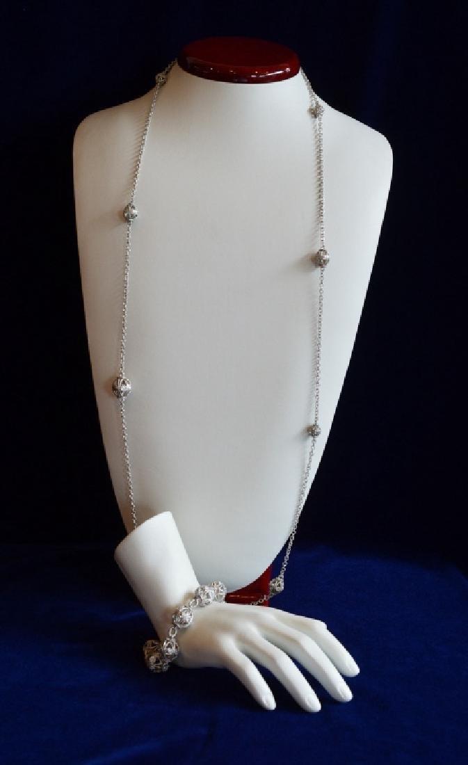 Judith Ripka Truffle Necklace w Matching Bracelet