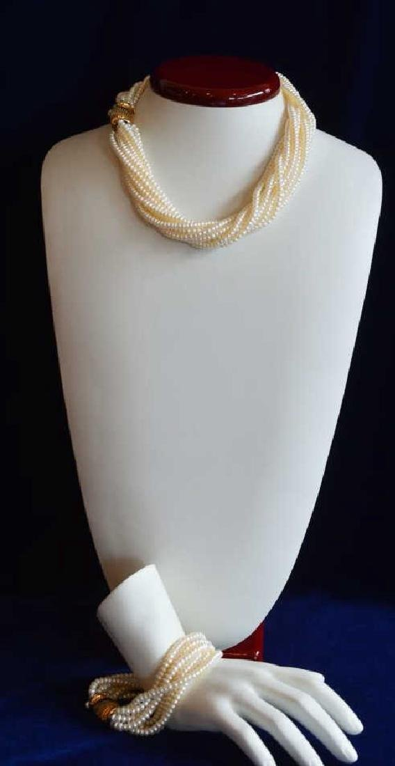 14k Yellow Gold Twist Pearl Necklace & Bracelet