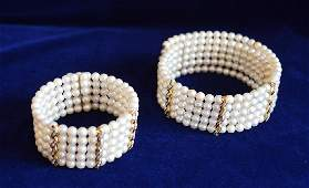 Ladies Akoya Pearl Choker and Cuff Bracelet Duo