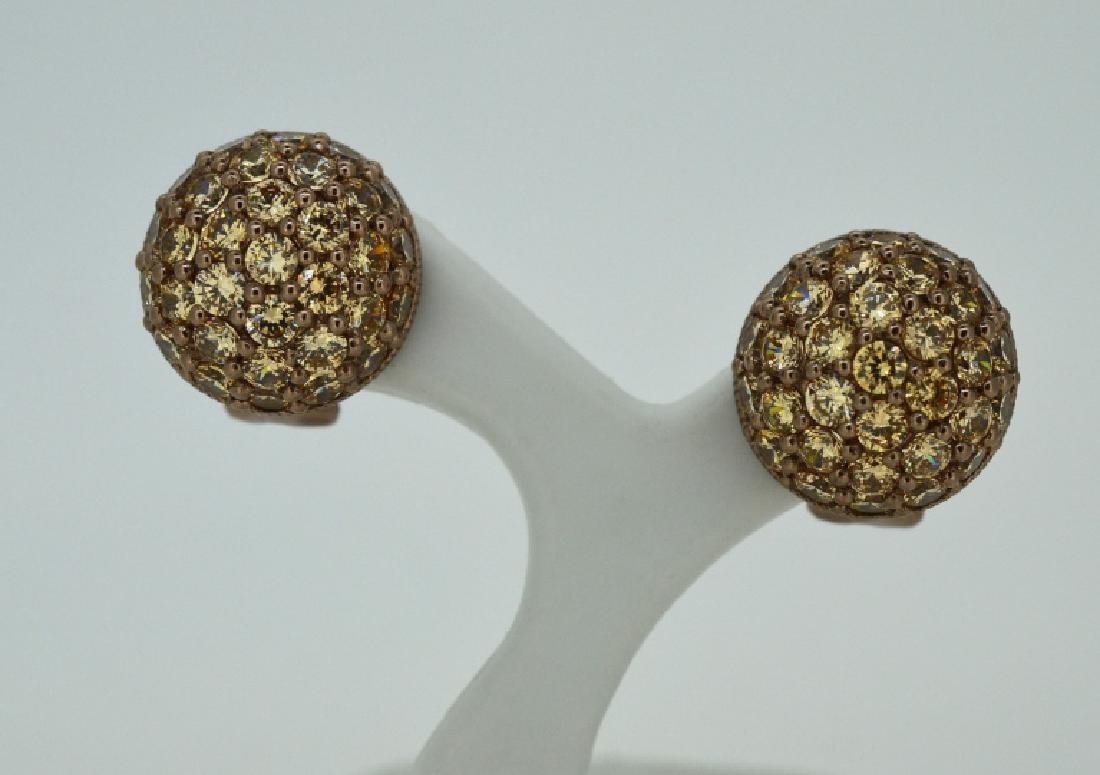 Judith Ripka Copper Colored CZ & Sterling Earrings