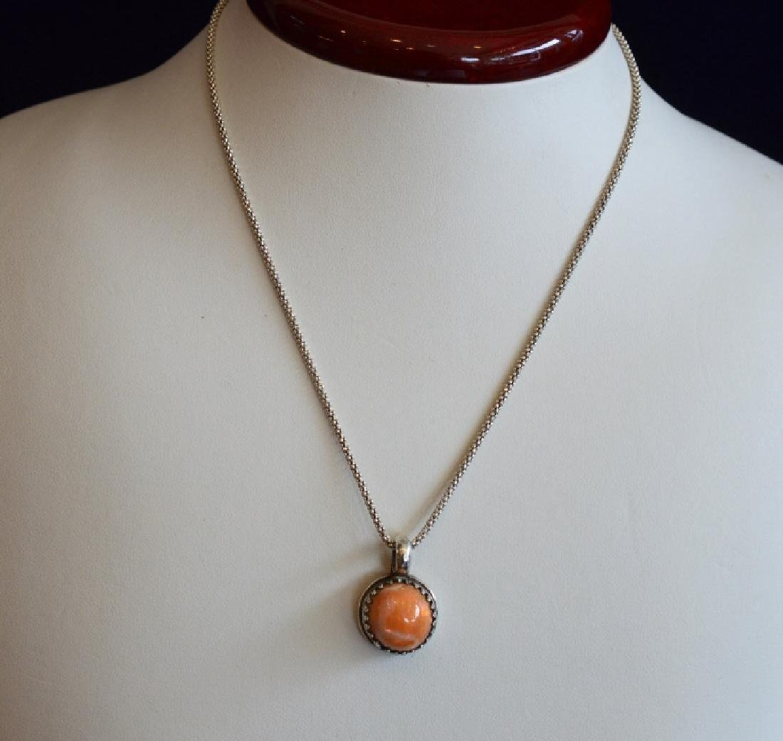 """Vintage 16"""" Mexican Fire Opal Sterling Necklace"""