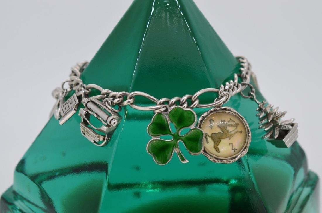 """Ladies 7"""" Vintage Sterling Silver Charm Bracelet"""