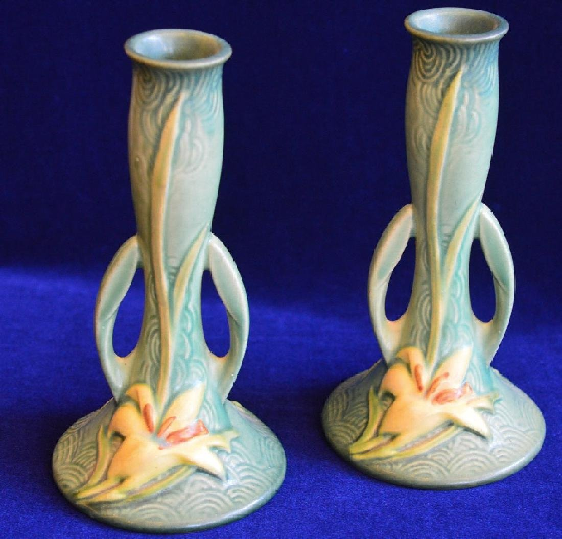 "Pair of Roseville 8"" Bud Vases with Zephyr Lily"