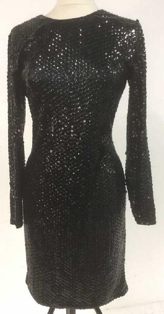 Vintage Womens Black Sequined Evening Dress