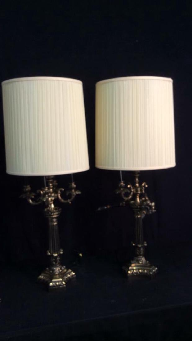 Pair Victorian Candelabra Style Metal Table Lamps