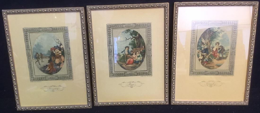 Group Lot of 3 Framed Vintage Prints