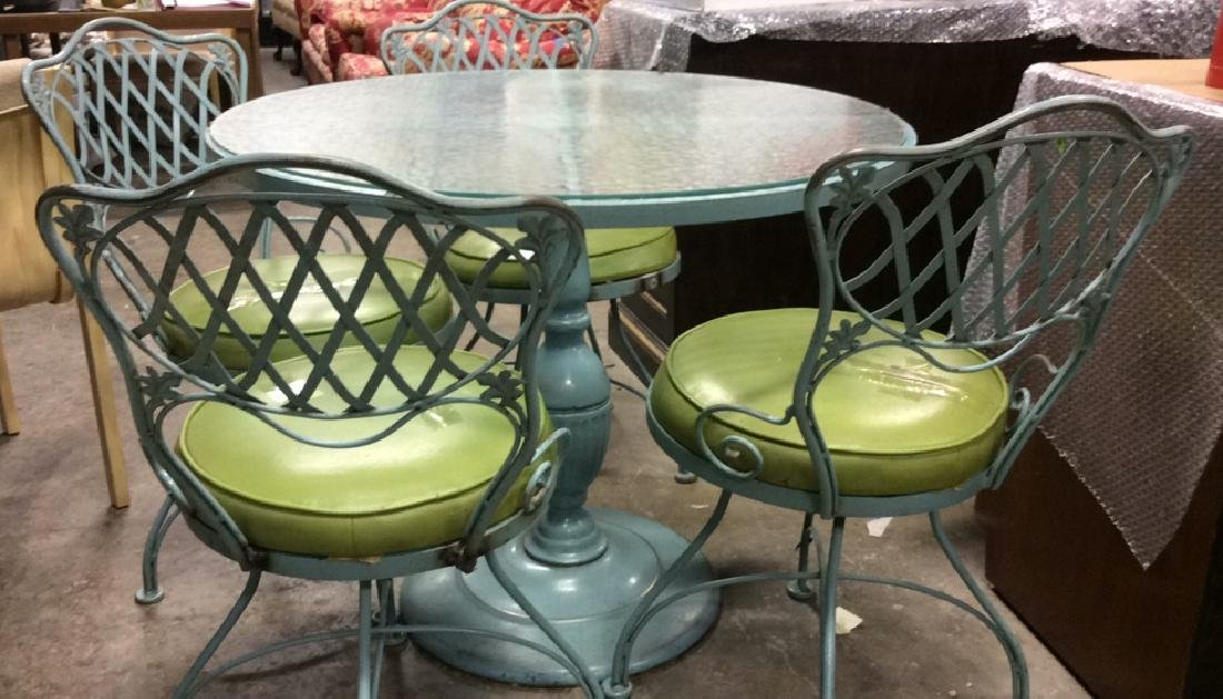 Group 5 WOODWARD Vintage Iron Table & Chairs