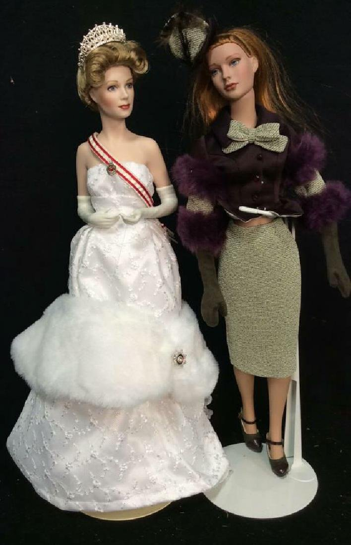 2 Franklin Mint Porcelain Dolls