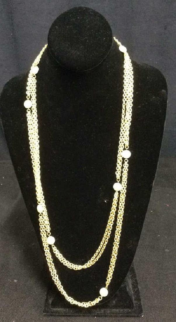 Vintage Opera Length Gold Tone Necklace Faux Pearl